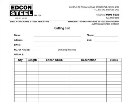 Download Cutting List Template