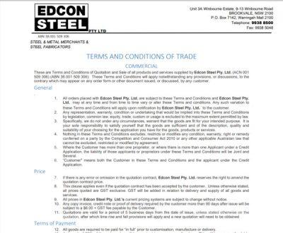 Edcon Steel Conditions of Sale